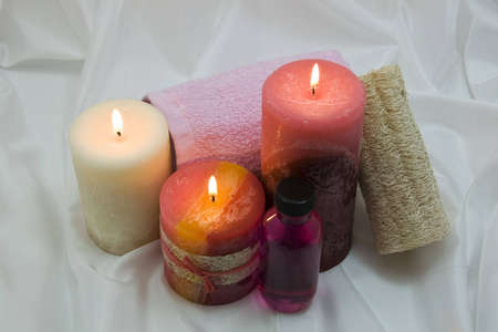Spa items with lighted candles
