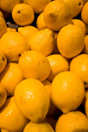 Fresh Lemons at fresh food market Stock Photo