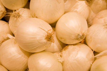 Fresh white onions at fresh food market Stock Photo