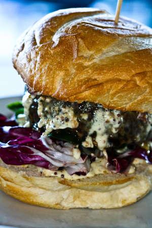 Fresh cooked hamburger Stock Photo
