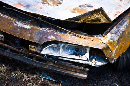 Fron of burned out car Stock Photo