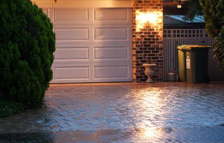 Home entrance at night