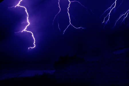 Lightning  strike during storm Stock Photo