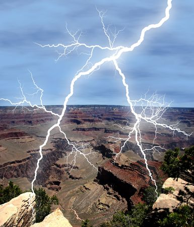 Lightening in the sky over the Grand Canyon. Stock Photo