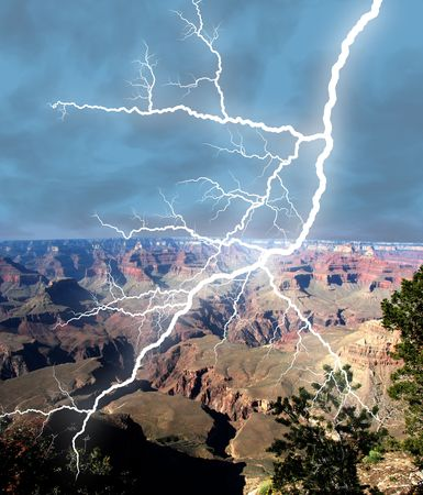 Lightening bolt stricking in the Grand Canyon.