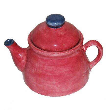 Blue and cranberry teapot isolated on white background. Stock Photo