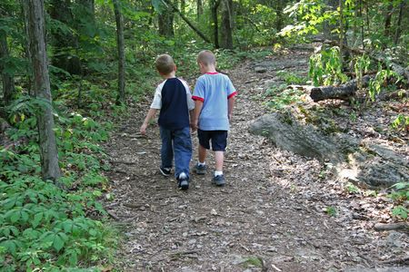 Two five year old boys walking along wooded trail. Stock Photo