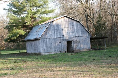 Old gray barn with rusty tin roof. Stock Photo