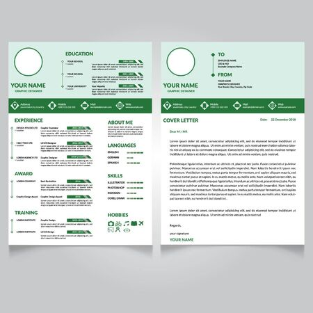 Vector - Stylish CV design - curriculum vitae cover letter template - color background - cover letter-vector