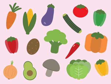 Variety of colorful vegetables Ilustração