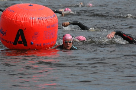 britannia: Swimmers at a buoy. Ottawa Riverkeeper Triathlon 2009.  Editorial