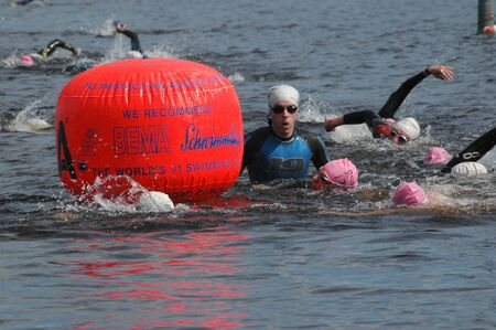 Approaching one of the marker buoys. Ottawa Riverkeeper Triathlon 2009