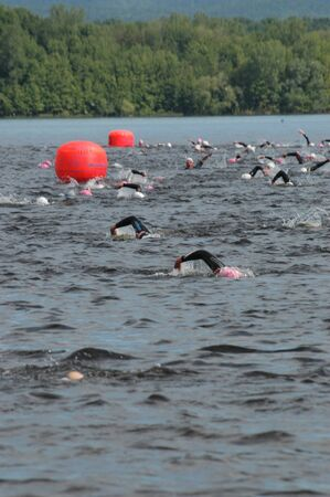 britannia: Swimmers in the middle of the Ottawa River during the Ottawa Riverkeeper Triathlon 2009.