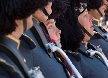 Ottawa, Ontario, Canada - November 11, 2009 - Solemn Faces of the Drummers in the Pipe and Drum Marching Band Stock Photo - 10781646