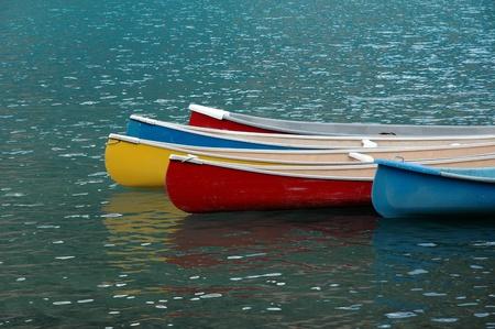 Canoes at Moraine Lake near Banff, Alberta.
