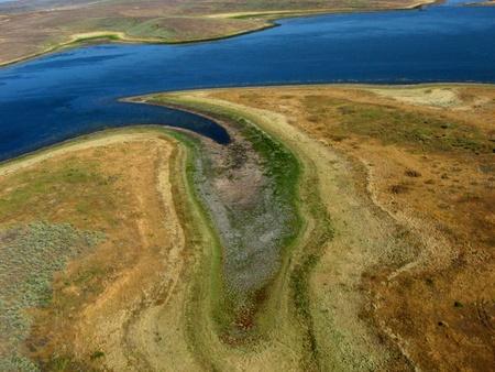 Mormon Reservoir south of Fairfield, Idaho - Kite Aerial Photography (KAP) Stock Photo
