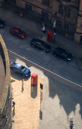 Downtown street scene in Sheffield, Yorkshire, England. View from overhead. Editorial