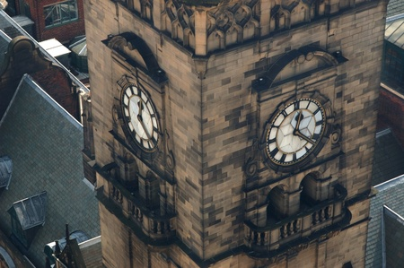 The Clock Tower of the Sheffield Town Hall in downtown Sheffield, Yorkshire, England. View from overhead.