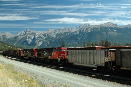 freight train: Freight train in Jasper, Alberta.