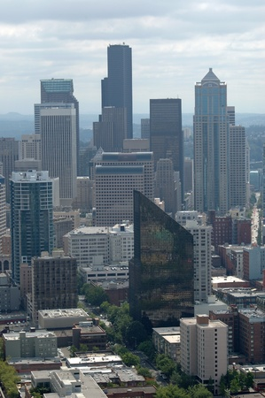 Seattle Washington skyline from the Space Needle. Overcast conditions. Editorial
