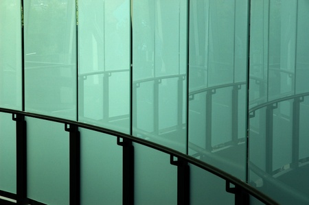 Glass corridor and reflections.