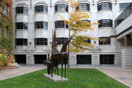 Courtyard and sculpture behind the Arts Building at the University of Ottawa.