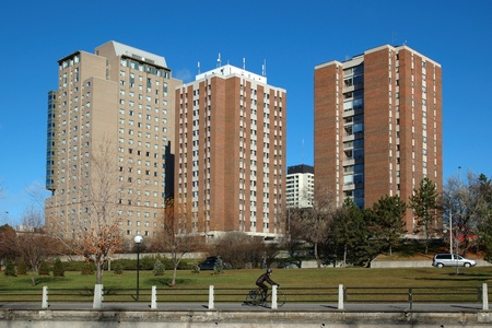 Residence buildings at the University of Ottawa.