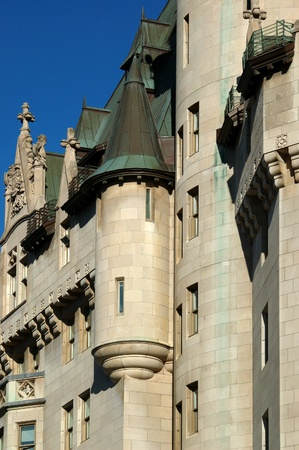 Detail of the Faiirmont Chateau Laurier Hotel in Ottawa, Ontario, Canada. Editorial