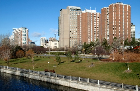 The Rideau Canal and residence buildings at the University of Ottawa. Stock Photo - 10970413
