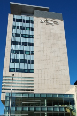 Desmarais building at the University of Ottawa in Ottawa, Ontario, Canada. In this building you will find the Telfer School of Management and the Faculty of Social Sciences.