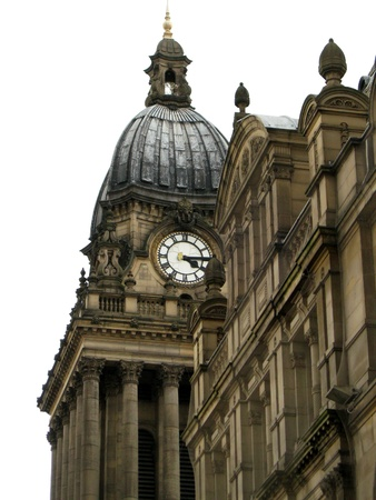 Leeds Town Hall Clock Tower, Leeds, England. White background. Editorial
