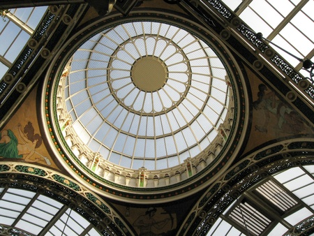 Dome skylight in the County Arcade in the Victoria quarter of Leeds, Yorkshire, England.