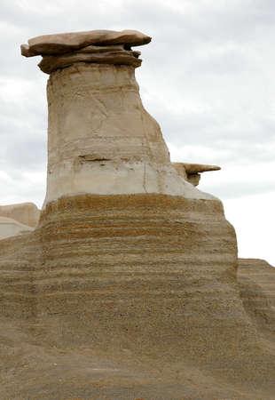 The Hoodoos near Drumheller, Alberta. Stock Photo