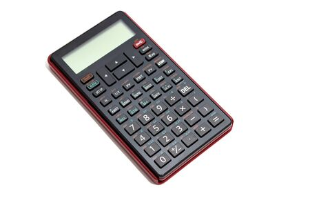 ruby: Black calculator isolated on white background Stock Photo