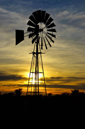 Wind Pump at Sunrise Stock Photo - 11827319