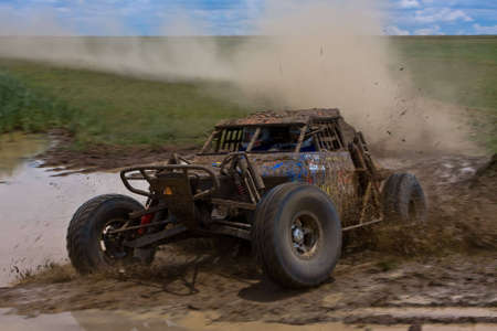 steam rally: Muddy turn during the Carnival City 400 in 2007 Stock Photo