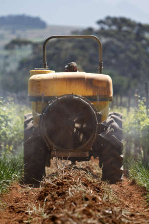 Zugmaschine Sprühen die Weinbergen für Insekten in Stellenbosch Standard-Bild - 6448524