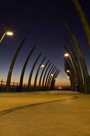 Sunrise über Umlanga-Pier von der Spitze der Struktur Standard-Bild - 6499254