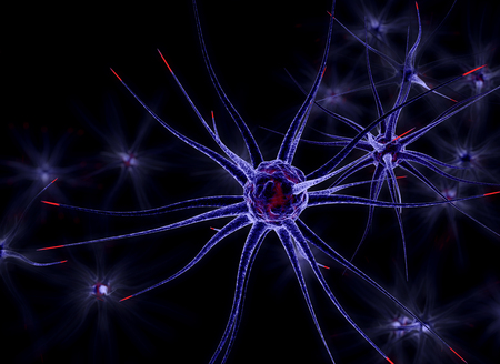 Neuronal cells, 3d illustration on black background