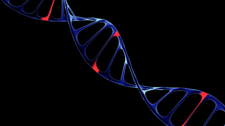 cybernetics: Artificial DNA molecule, the concept of artificial intelligence, on a dark background