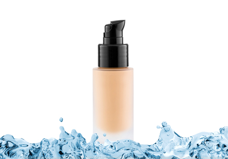 moisturiser: Foundation cosmetic glass tube with copy space in water splash, tone cream, moisturiser concept, isolated on white
