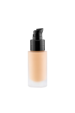 moisturiser: Foundation cosmetic glass tube with copy space, tone cream, moisturiser concept, isolated on white