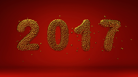 Happy New Year, 2017 numbers made of gold beads on red background, 3d render Stock Photo