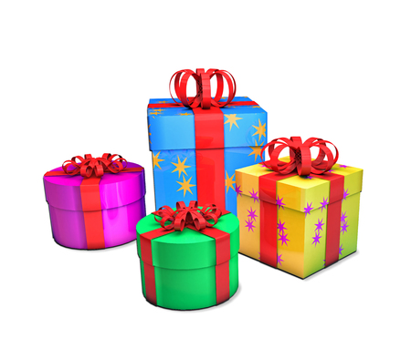 Colourful gifts, isolated on white, 3d render