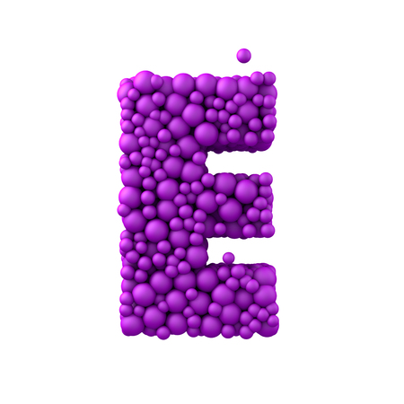 e white: Letter E made of plastic beads, purple bubbles, isolated on white, 3d render.