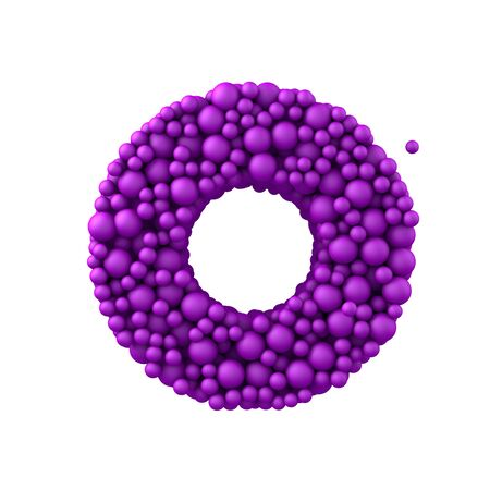 Letter O made of plastic beads, purple bubbles, isolated on white, 3d render.