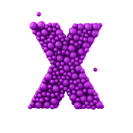 Letter X made of plastic beads, purple bubbles, isolated on white, 3d render.