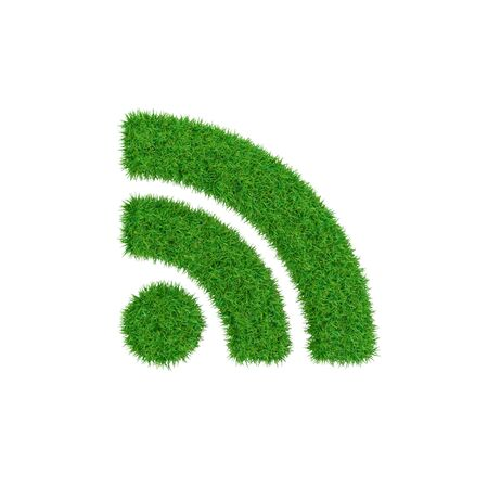 Green symbol of RSS made of grass, ecology concept, 3d render. Stock Photo