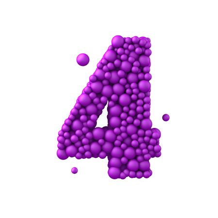 water liquid letter: Number 4 made of plastic beads, purple bubbles, isolated on white, 3d render.