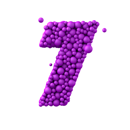 water liquid letter: Number 7 made of plastic beads, purple bubbles, isolated on white, 3d render. Stock Photo
